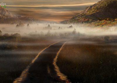 Folgt dem glänzenden Weg durch Nebel zum Turm der Begebenheiten